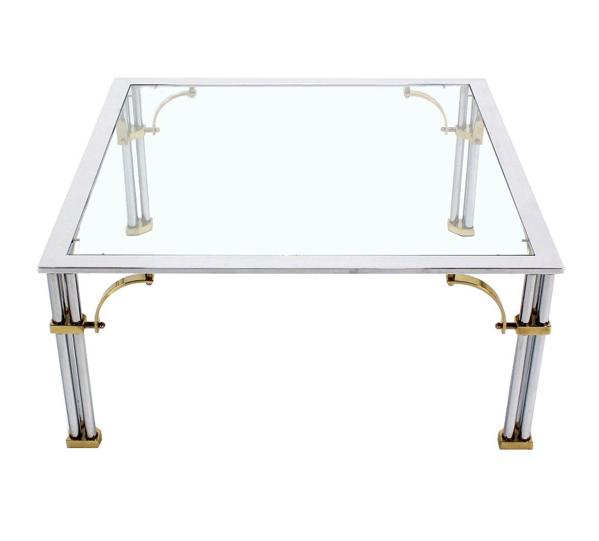 Brass Chrome Glass Top Square Coffee Table For Sale At 1stdibs