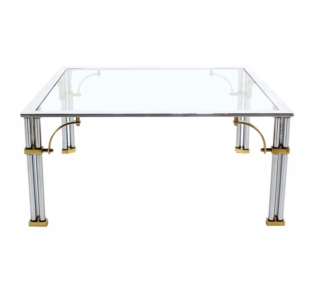 Brass Chrome And Glass Top Square Coffee Table At 1stdibs