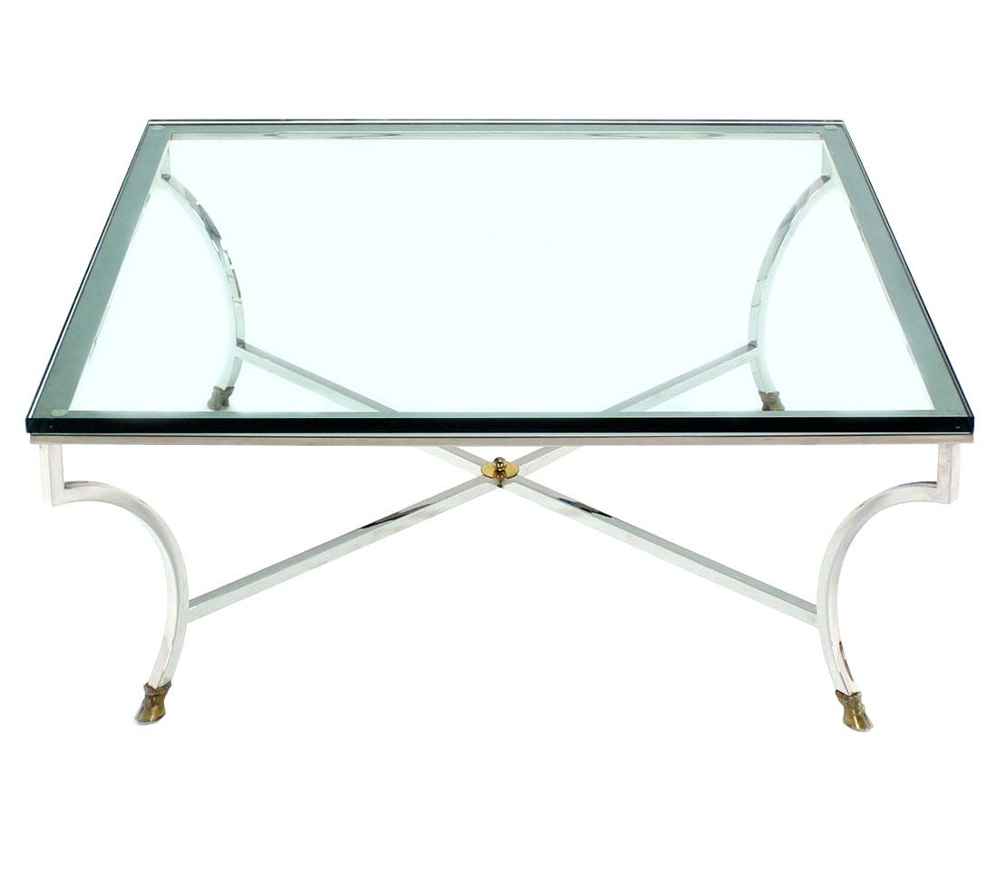 Glass-Top Square Coffee Table With Chrome And Brass Hoof