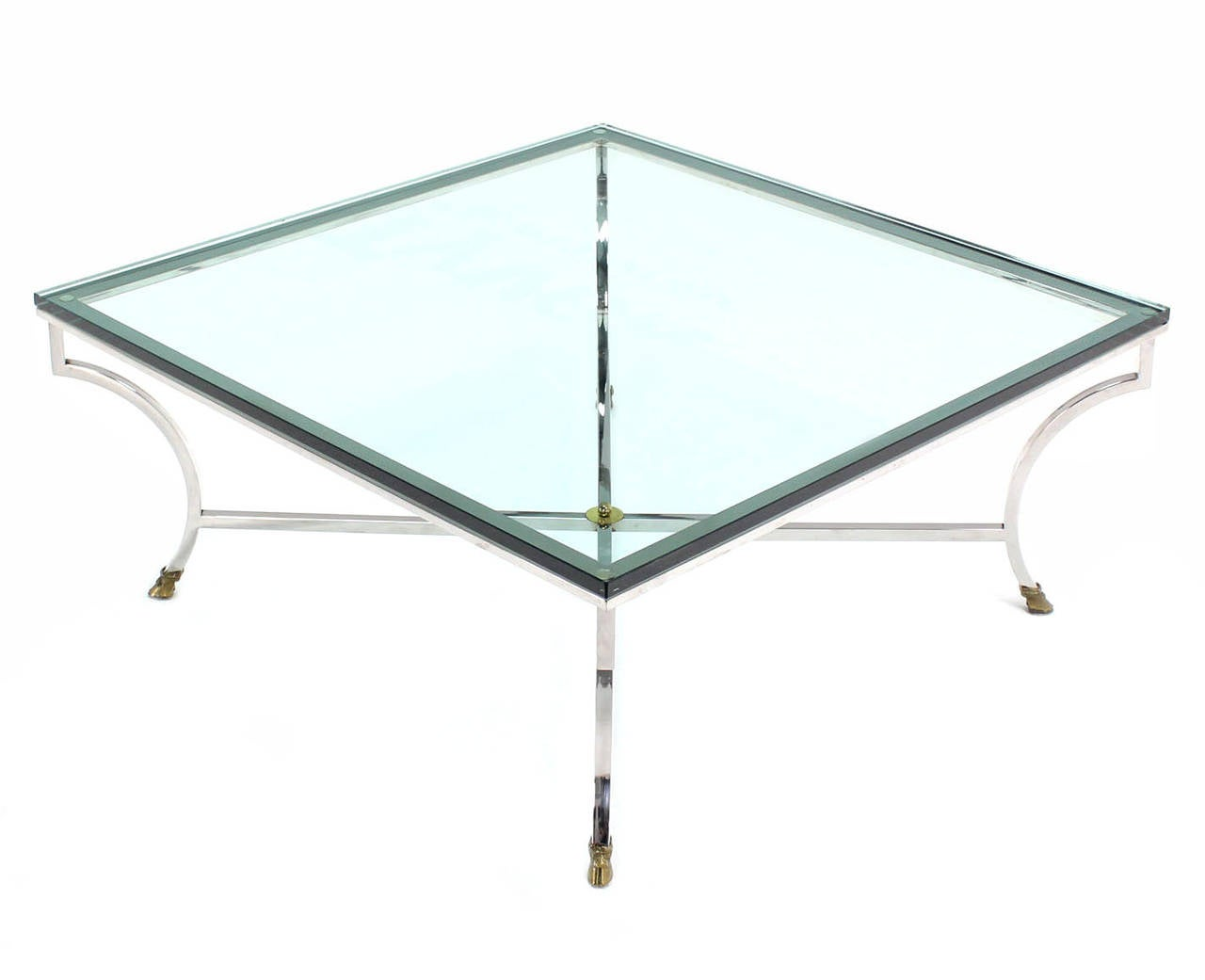Square Coffee Table Glass Top Large Square Glass Top Coffee Table With Molded Legs At 1stdibs