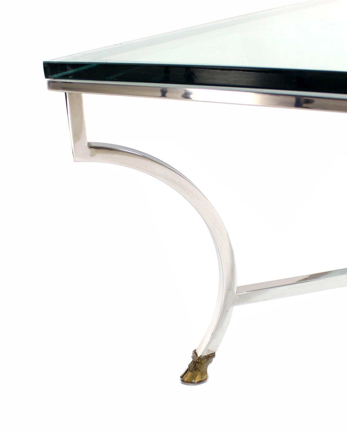 Glass Top Square Coffee Table With Chrome And Brass Hoof Feet Base For Sale At 1stdibs