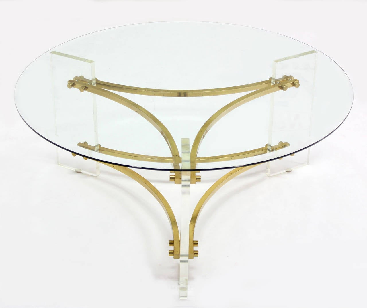 Charles Hollis Jones Glass Brass Lucite Round Coffee Table Image 5