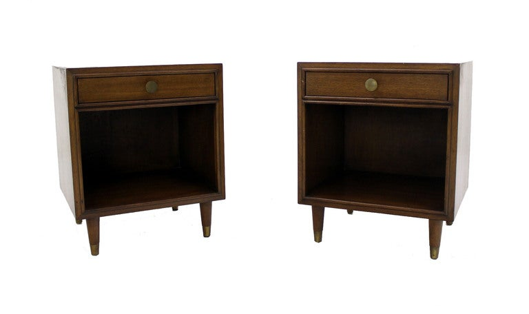 Brass Pair Johnson Mid Century Modern Walnut Night Stands End Table For Sale