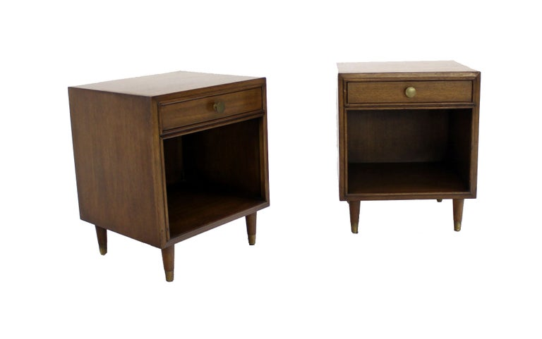Pair Johnson Mid Century Modern Walnut Night Stands End Table For Sale