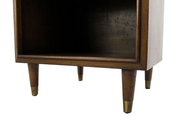 American Pair Johnson Mid Century Modern Walnut Night Stands End Table For Sale
