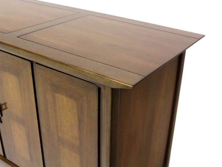 20th Century Mid Century Modern Burlwood Long Credenza Dresser Matching Mirror For Sale