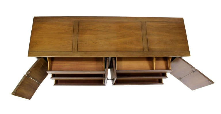 Mid-Century Modern Mid Century Modern Burlwood Long Credenza Dresser Matching Mirror For Sale