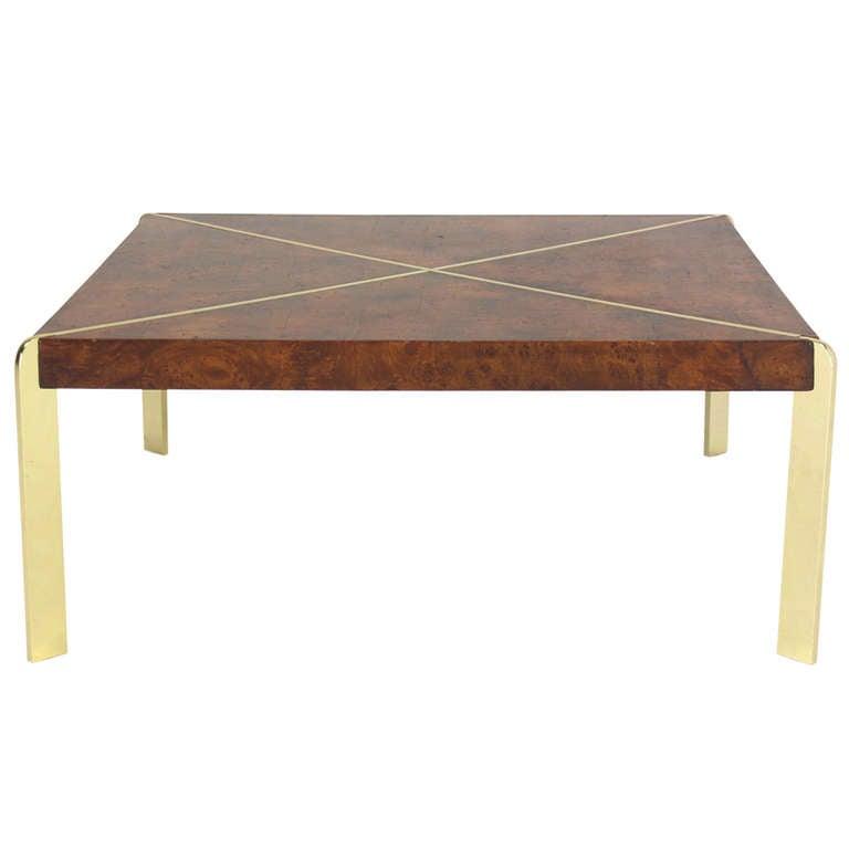 Milo Baughman Burlwood And Metal Frame Coffee Table Mid Century Modern At 1stdibs