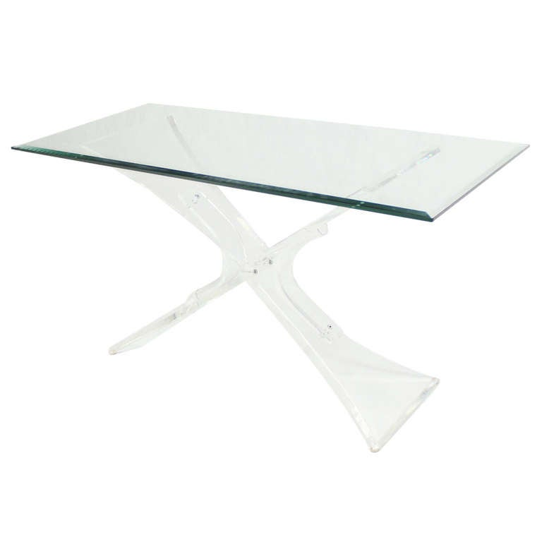 Lucite Base and Glass-Top Mid-Century Modern Console Table