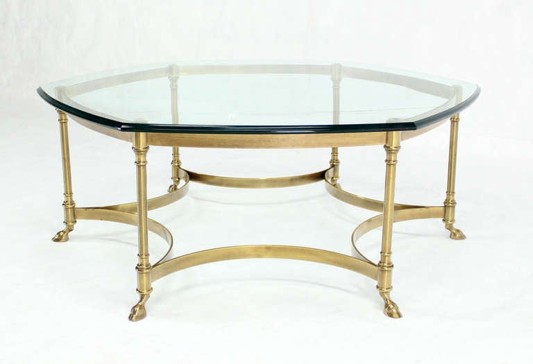 Italian Modern Coffee Table With Hoof Feet Brass Base And Hexagonal Glass Top For Sale At 1stdibs