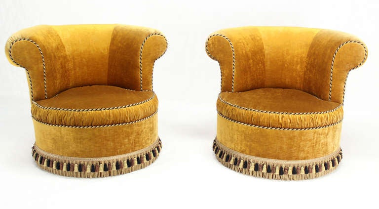 Pair of Large, Gold Velvet Upholstery Lounge, Barrel-Back Chairs 3