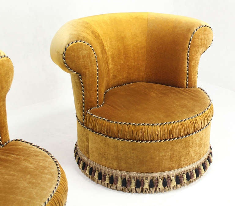 Pair of Large, Gold Velvet Upholstery Lounge, Barrel-Back Chairs 4