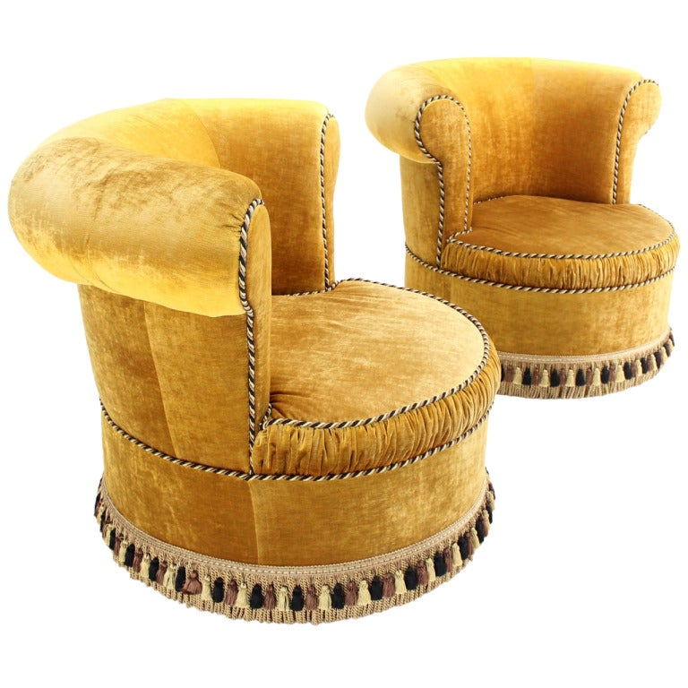 Great Pair Of Large, Gold Velvet Upholstery Lounge, Barrel Back Chairs For Sale