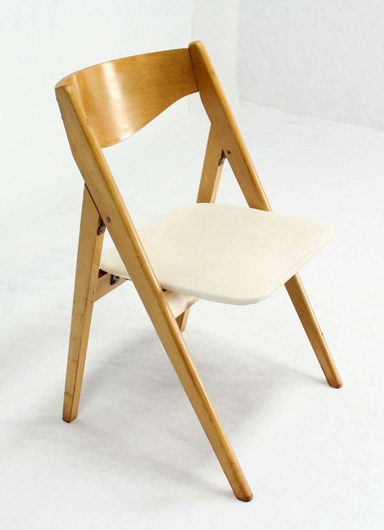 Four Folding Compass Style Mid Century Modern Chairs With