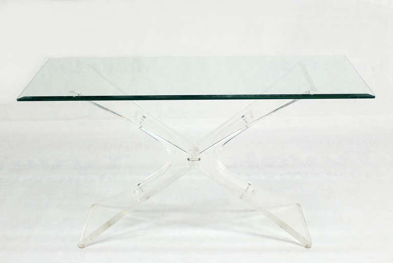Lucite Base and Glass-Top Mid-Century Modern Console Table 2