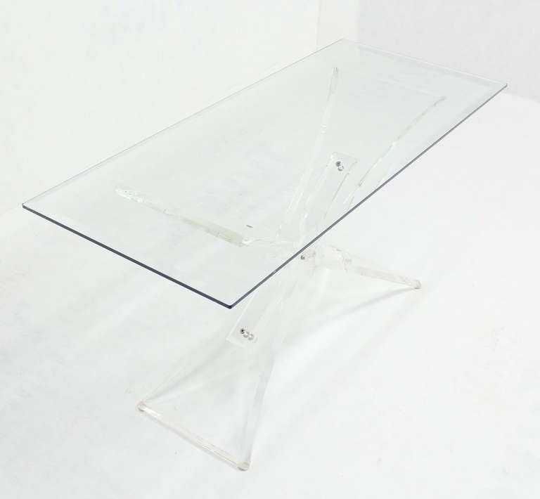 Lucite Base and Glass-Top Mid-Century Modern Console Table 7