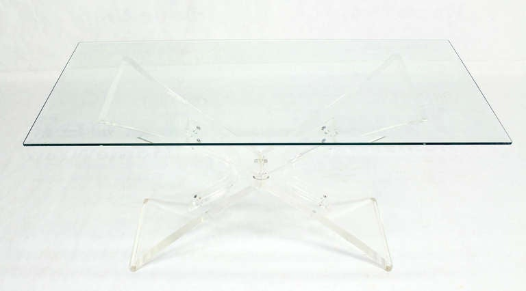 Lucite Base and Glass-Top Mid-Century Modern Console Table 10