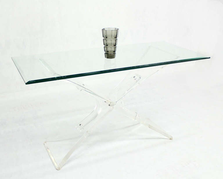 Lucite Base and Glass-Top Mid-Century Modern Console Table 8