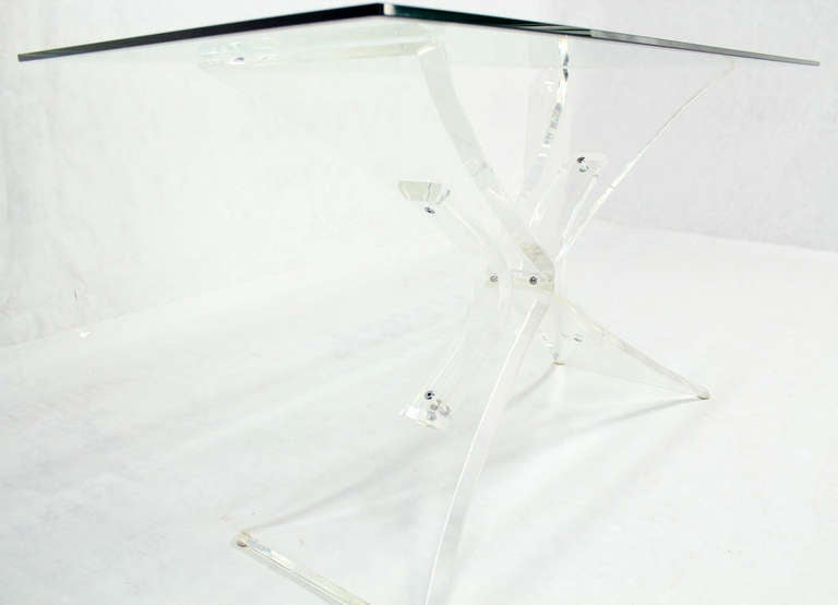 Lucite Base and Glass-Top Mid-Century Modern Console Table 6