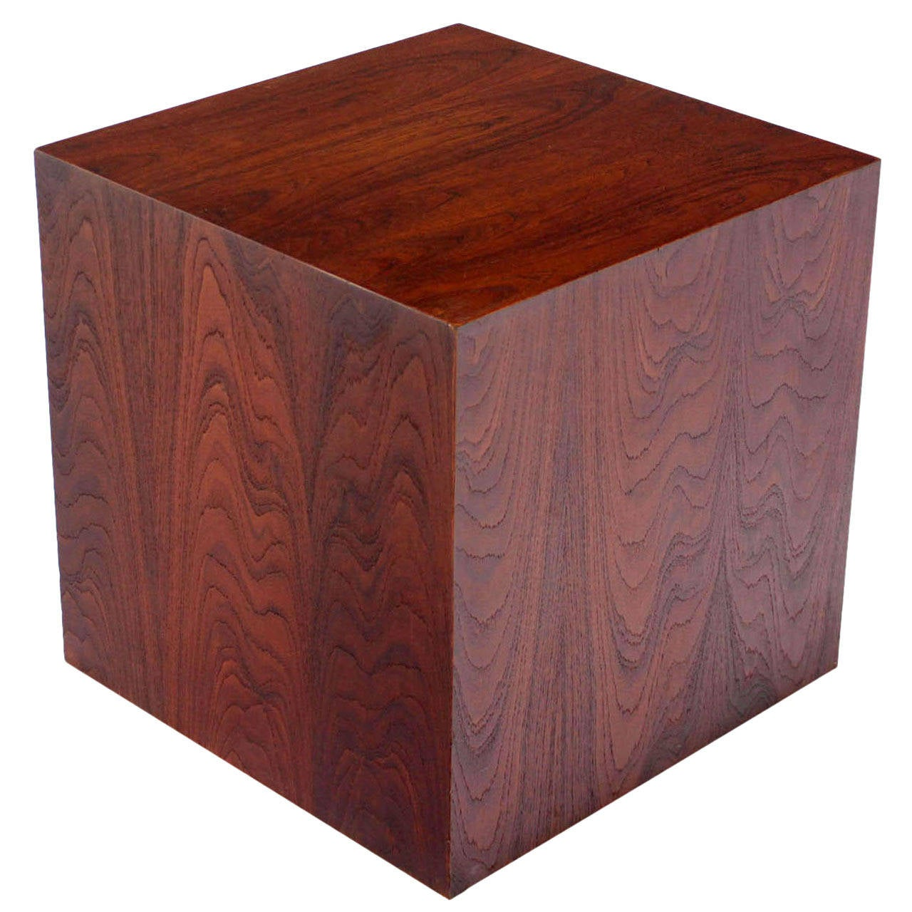 Mid Century Modern Oiled Walnut Cube Pedestal Or Side