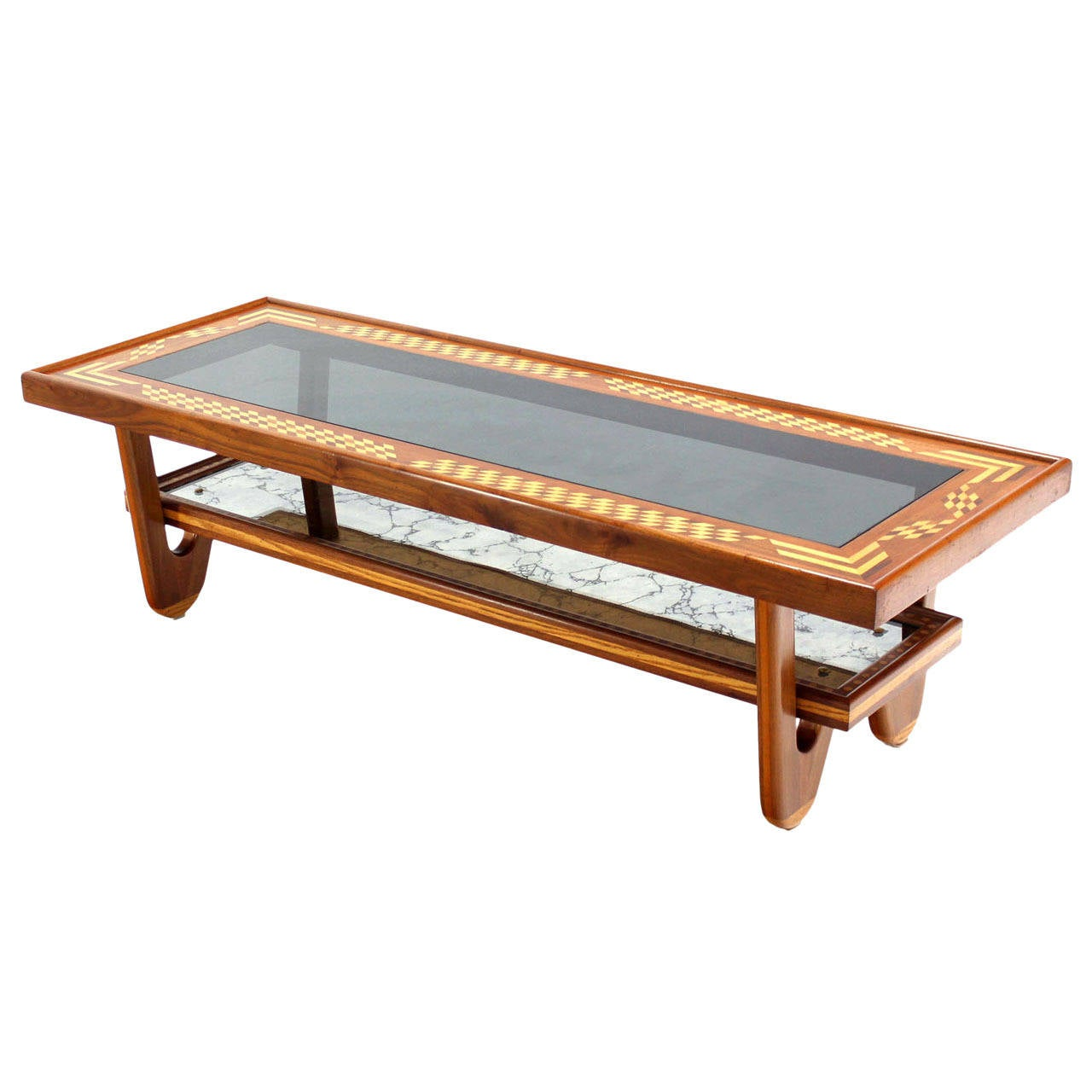 Walnut Smoked Glass Top Marquetry Design Long Coffee Table