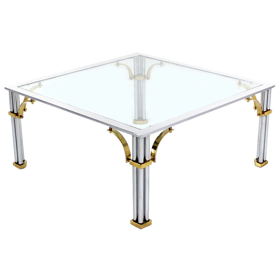Brass Chrome Glass Top Square Coffee Table