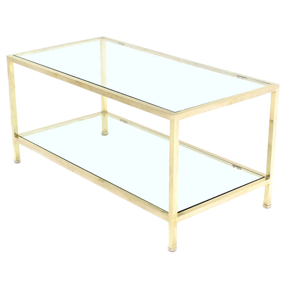 Solid Brass Square Tube Rectanglar Coffee Table For Sale At 1stdibs