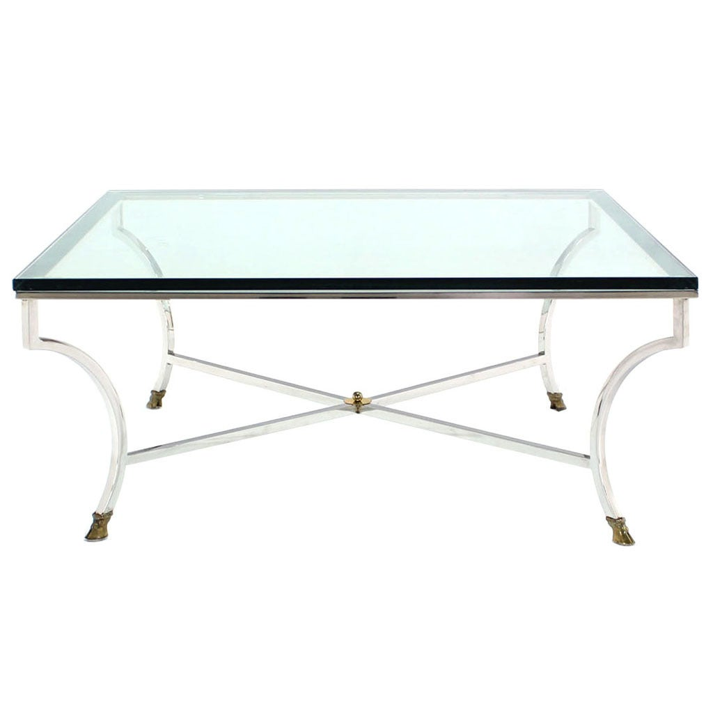 Glass top square coffee table with chrome and brass hoof for Coffee tables glass top
