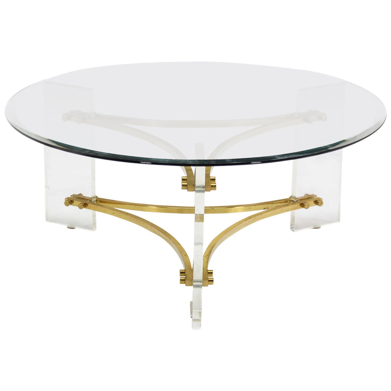 Charles Hollis Jones Glass Brass And Lucite Round Coffee Table