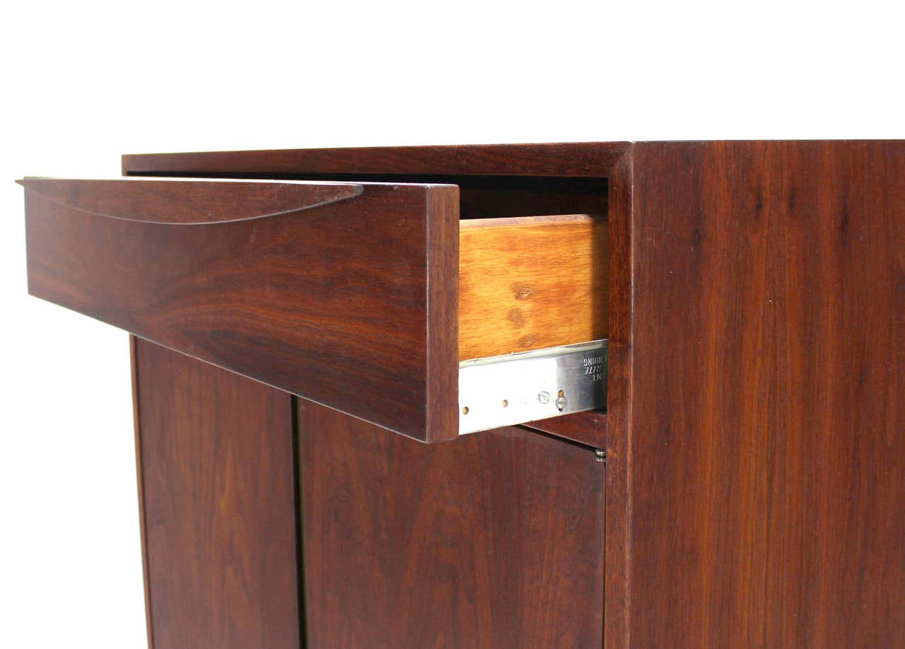 Hanging Walnut Side By Side Storage Cabinet And Vanity For