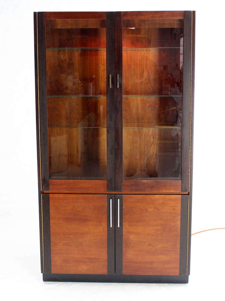Walnut and rosewood modern vitrine display cabinet in the for Sideboard vitrine