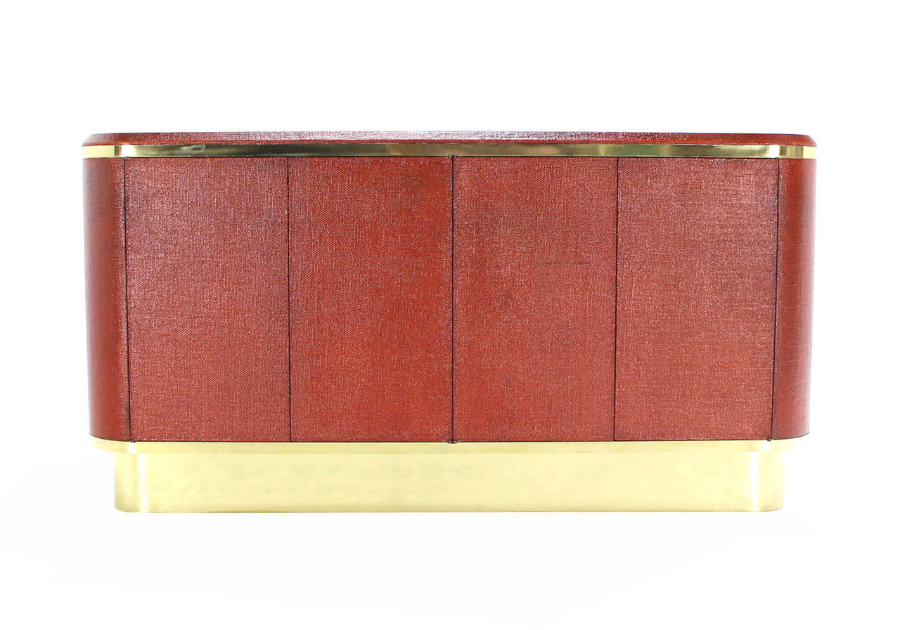 Grass Cloth Brass Credenza or Cabinet or Sideboard Red Brick Color In Good Condition For Sale In Rockaway, NJ