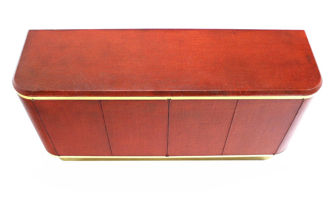 Mid-Century Modern Grass Cloth Brass Credenza or Cabinet or Sideboard Red Brick Color For Sale