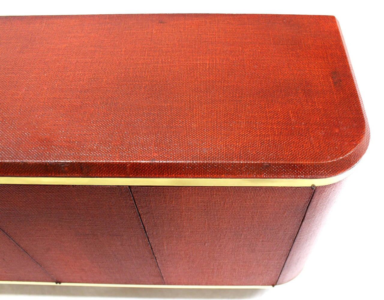 American Grass Cloth Brass Credenza or Cabinet or Sideboard Red Brick Color For Sale