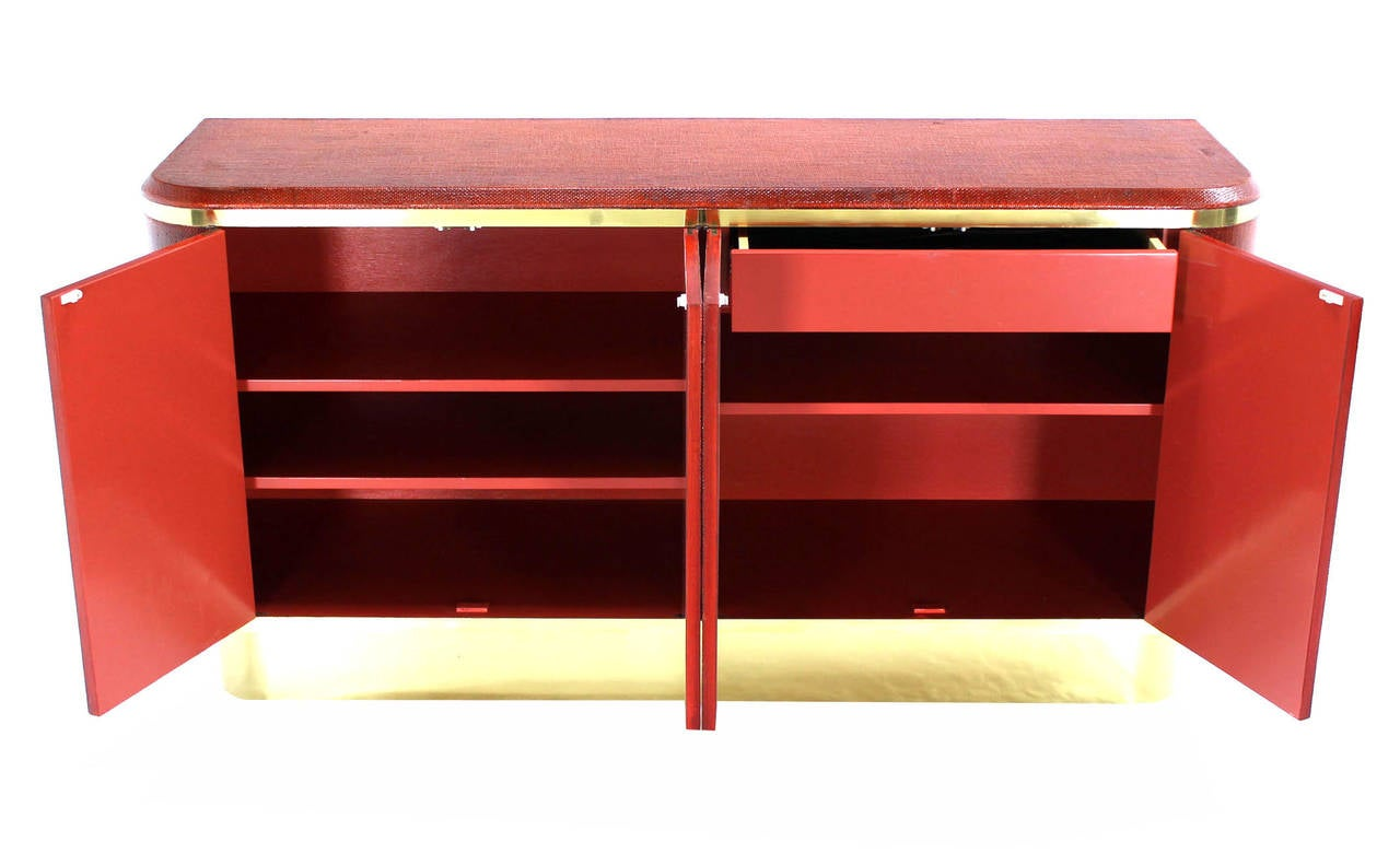 20th Century Grass Cloth Brass Credenza or Cabinet or Sideboard Red Brick Color For Sale