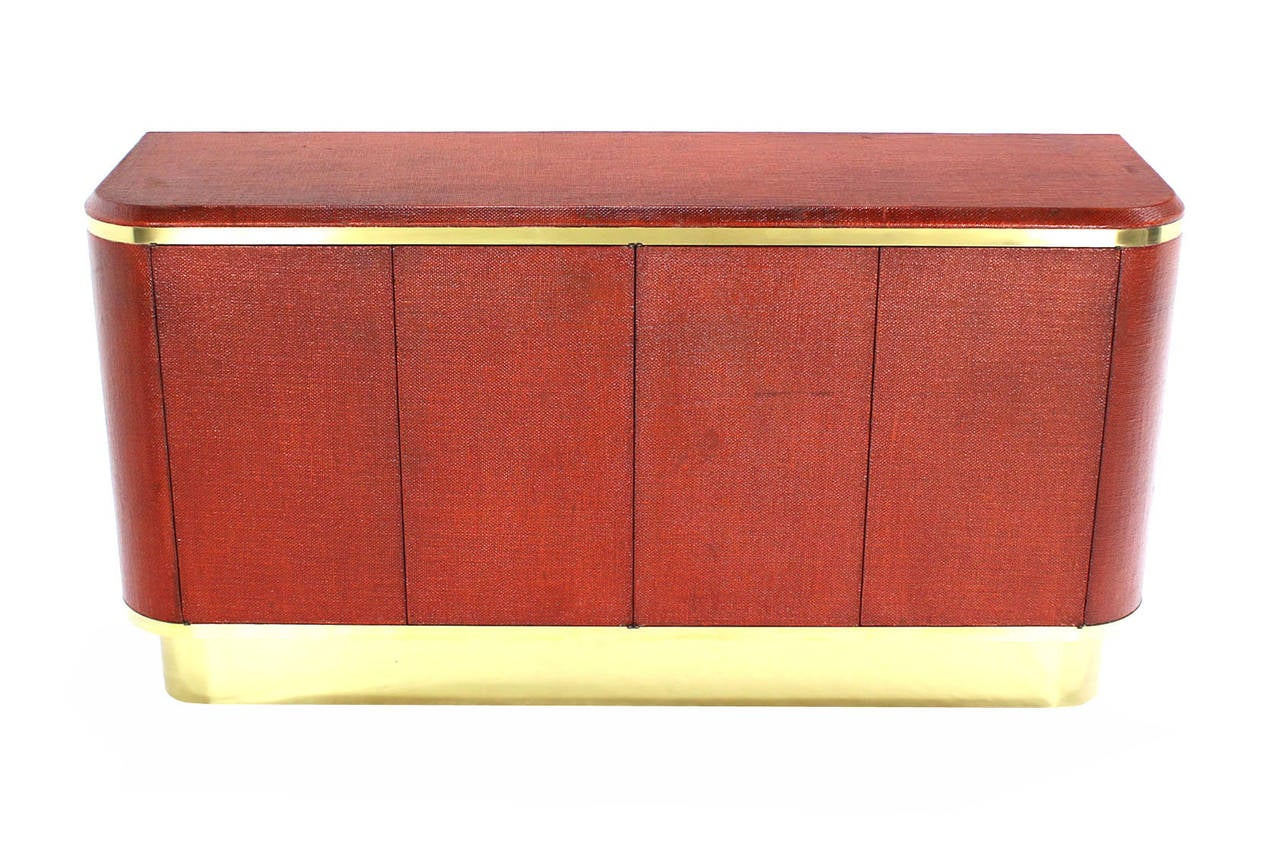Lacquered Grass Cloth Brass Credenza or Cabinet or Sideboard Red Brick Color For Sale