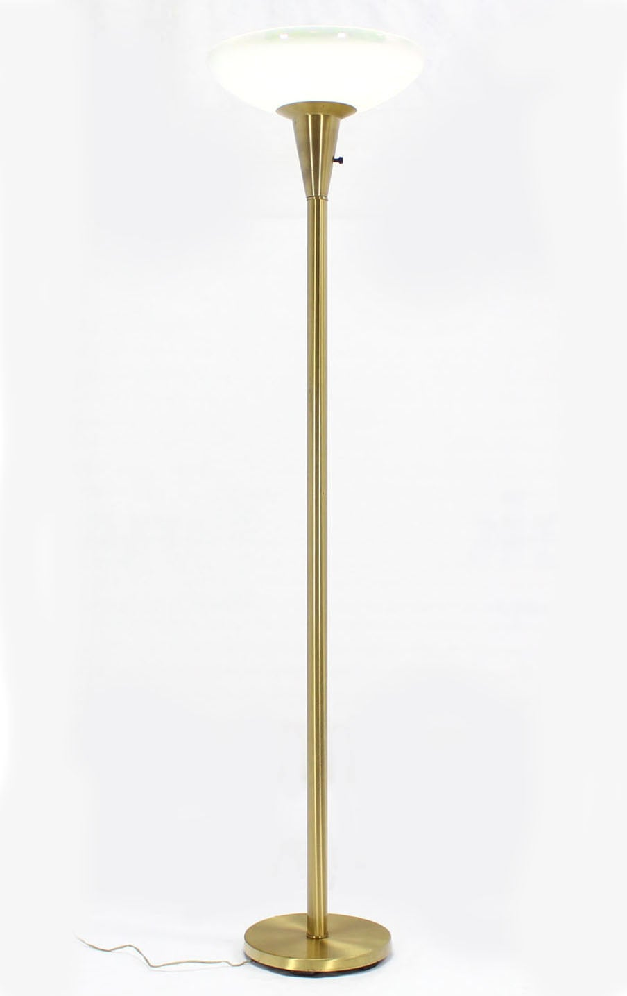 brass torchiere floor lamp with iridescent glass shade at 1stdibs. Black Bedroom Furniture Sets. Home Design Ideas