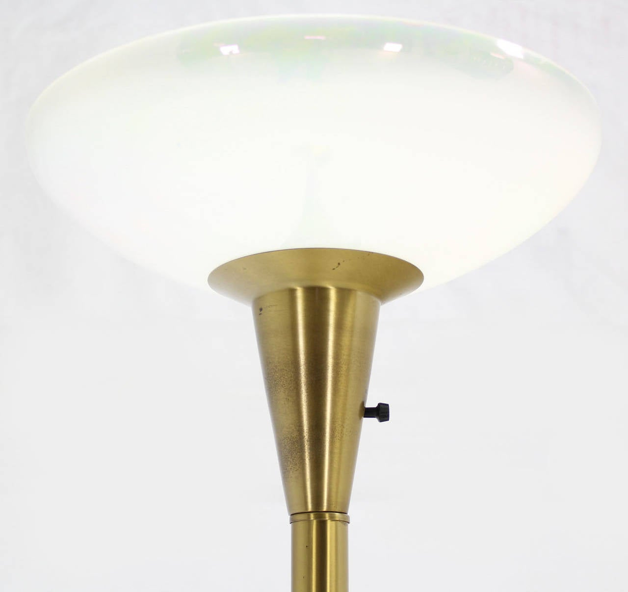 Brass torchiere floor lamp with iridescent glass shade for for Torchiere floor lamp with glass shades