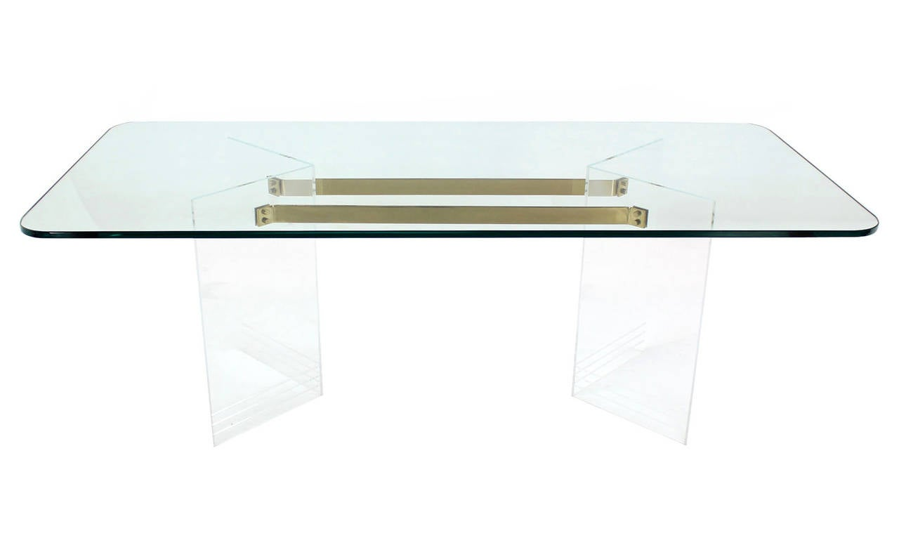 Brass And Lucite Base Thick Glass Top Dining Table At 1stdibs