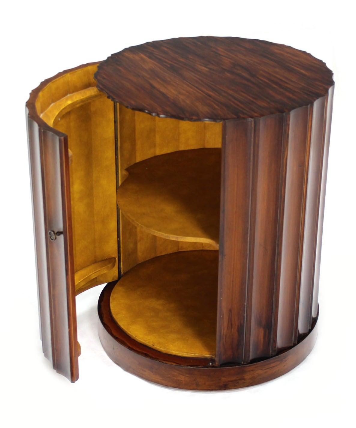 Round Mid Century Modern Pedestal With Bar Cabinet Image 8