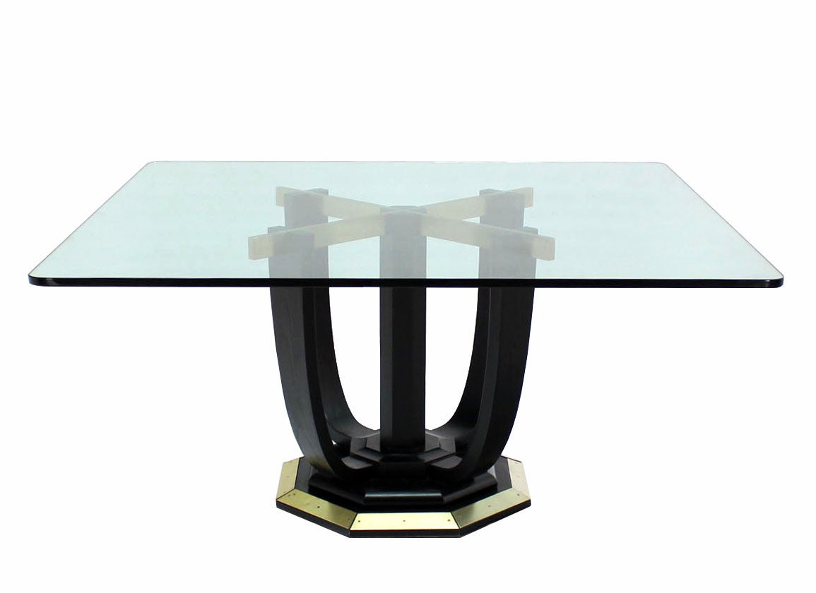 large square glass top black lacquer brass base dining