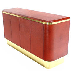Grass Cloth Brass Credenza or Cabinet or Sideboard Red Brick Color