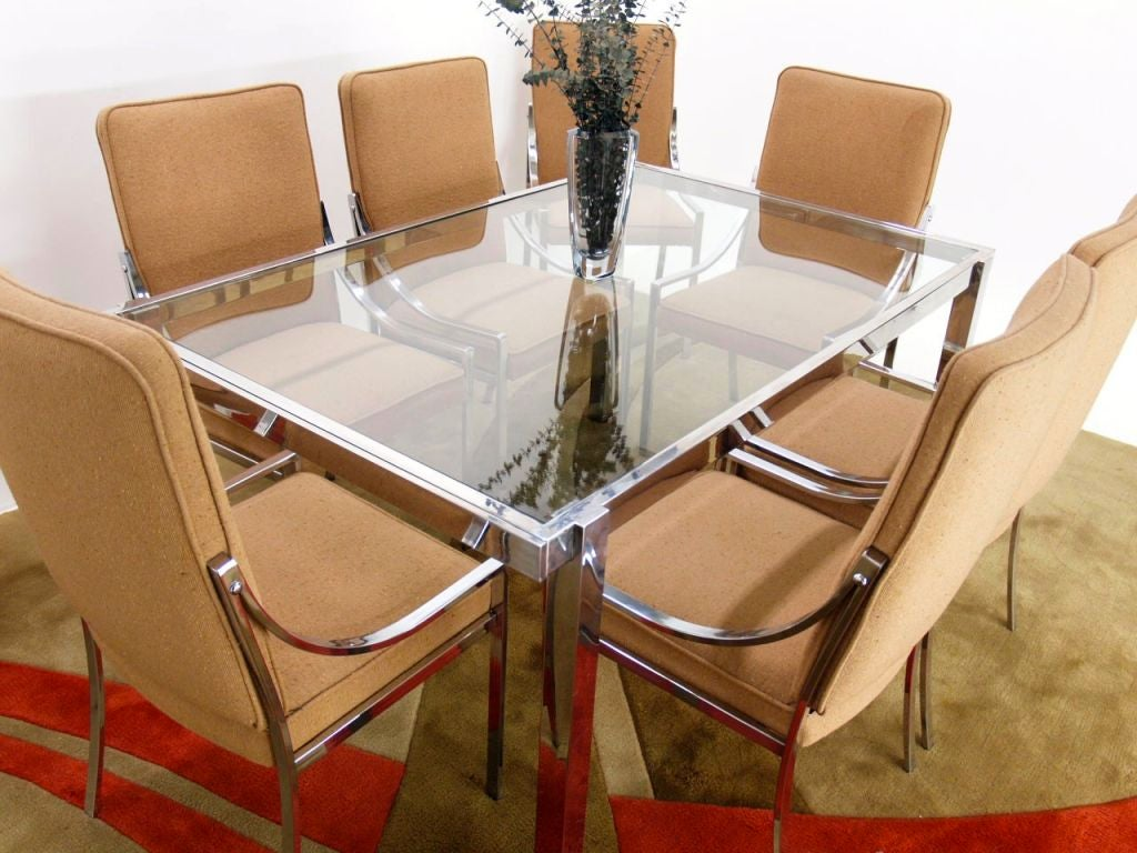 Piere Cardin Chrome Glass Dining Table with 8 Matching  : 883712976490004 from www.1stdibs.com size 1024 x 768 jpeg 119kB