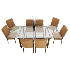 Piere Cardin Chrome Glass Dining Table with 8 Matching chairs