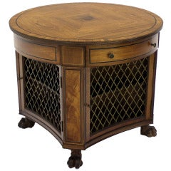 Regency Zebra Wood Round Center Table Bookcase Cabinet Paw Feet