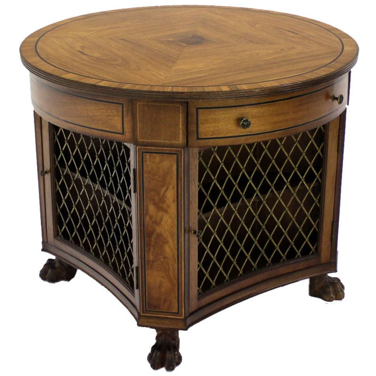 regency zebra wood round center table bookcase cabinet paw feet at