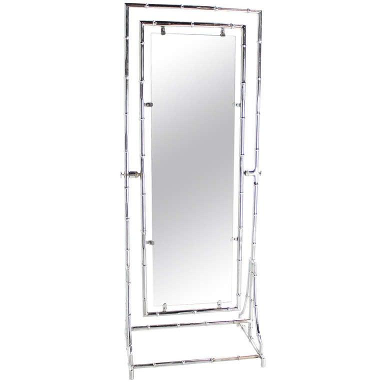 Mid Century Modern Chrome Faux Bamboo Metal Chevelle Floor Mirror ...
