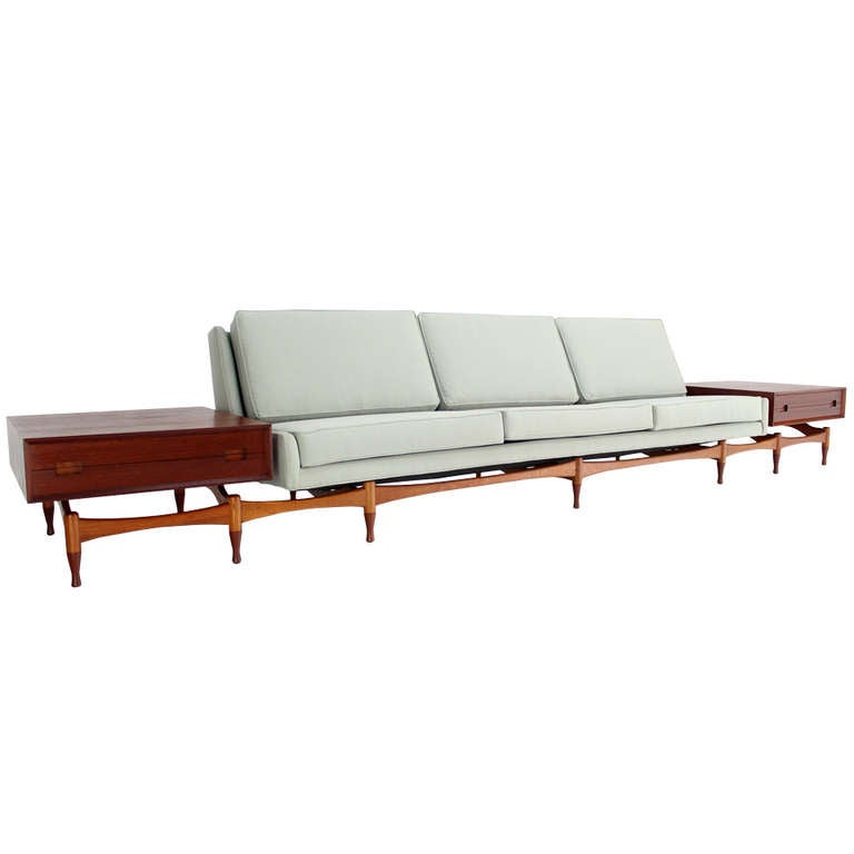 Danish mid century modern sofa extra long built in teak for Long couches for sale