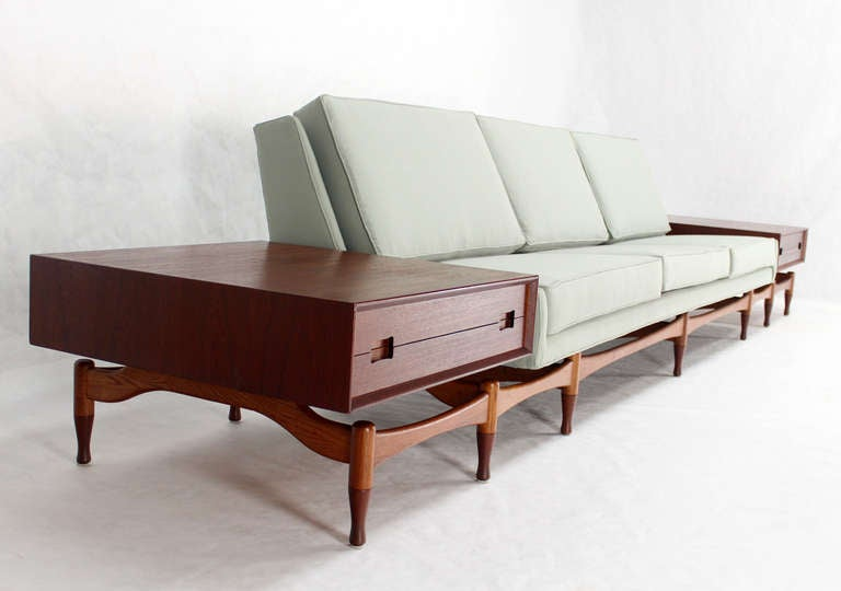 Danish Mid Century Modern Sofa Extra Long Built in Teak End Side Tables  Drawers