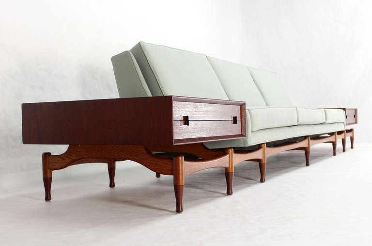 Danish Mid Century Modern Sofa Extra Long Built In Teak End Side